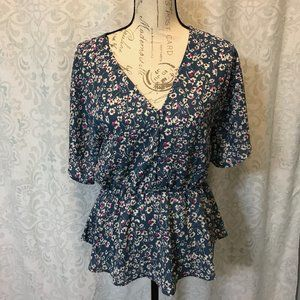 SIENNA SKY Short Sleeve Button Up Floral Blouse
